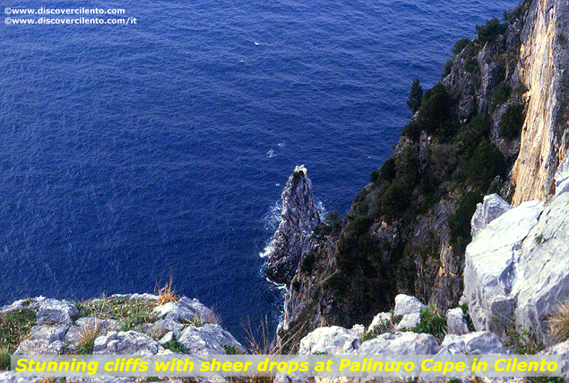 Stunning cliff with sheer drops at Palinuro Cape in Cilento National Park